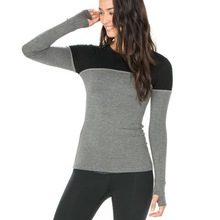 Polyester spandex dry fit long sleeve gym clothes custom women sport shirt