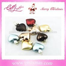new fashionable christmas mini ornaments heart shaped glass ornaments