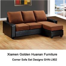 PU and Fabric L shape corner sofa set designs