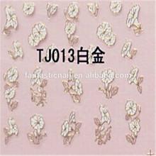 Beautiful Natural Little White Flower Gold 3D Nail Art Sticker &Decals