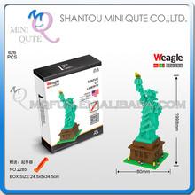 Mini Qute World architecture 3d estatua de la libertad Weagle diamante nano bloque de construcción de plástico escala modelo juguetes educativos NO.2285
