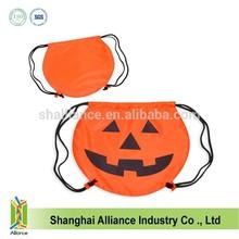 Halloween+Smile Drawstring Backpack Bag soccer shape cinch sack