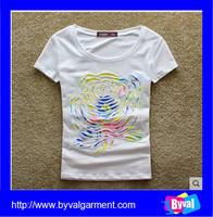 Trendy 100% Organic Cotton Europe White Women Knitting T shirts