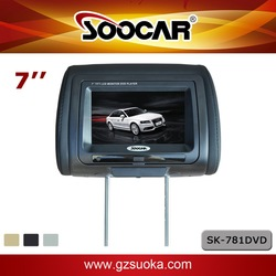 7 inch Car Headrest Monitor DVD Player HD Digital Touch Screen USB SD IR FM Game Dual Video input output built in Speaker