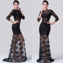 Grace Karin Sexy Design Backless See Through Black Long Sleeve Lace Evening Gown 2015 CL6227