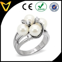 Quadruple White Pearl Right Hand Ring in High Polished Stainless Steel Cluster Setting