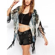 New Look semi-sheer chiffon palm print tassel kimono for woman beach wear apparel
