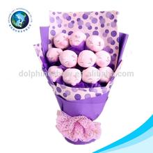 Plush soft toy pig type valentine gift silk flower bouquet