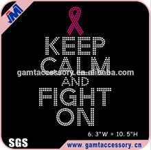Keep calm and fight on iron on Rhinestone transfer design, pink ribbon rhinestone heat transfer
