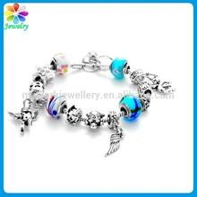 Vintage birds blue charsm handmade mexican silver bracelet