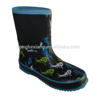 Breathable printed kids neoprene rain boots