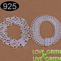 Silver chain jewelry set lover bracelet set 925 sterling silver twist gird bracelet woman men engagement gift party fashion 209