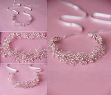 Luxury Hand Made Fashion Artificial Pearl Clear Crystal Bridal Hair Flower Headband Wedding Party women Hair Accessories