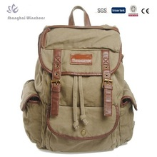 Canvas soft backpack with trim PU for teenager