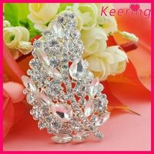 Fancy Leaf Shape Silver Rhinestone Bridal Hair Brooch WBR-1452