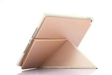 """9.7"""" tablet case leather multi-folding stand function leather case for iPad ait 2 ,sleep function tablet case for iPad 6"""