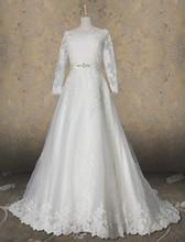 A-Line Bateau Sweep/Brush Train Beaded Applique Tulle Wedding Dress[RBT61152]