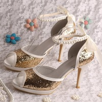 Golden Glitter Brazilian Sandals High Heels