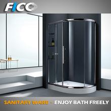 FC-525, luxury golden plating smooth sliding glass shower door