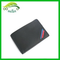Men black leather wallet with coin slot