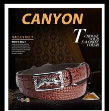 top designer men's crocodile pattern pu leather belt