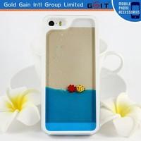 unique 3D flowing sea design hard pc case for iPhone 5g, for iPhone 5G 3D PC case with flowing liquid inside