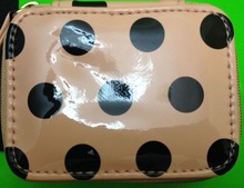 Travel pill case medicine peach black polka dot