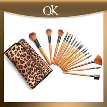 QK deluxe pro makeup brush set leopard print case