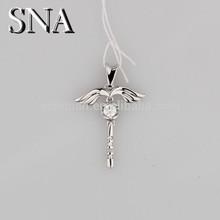 925 sterling silver jewelry wholesale cross pendant angel wings pendants pendant CZ micro pave Bracelet Bead