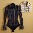4492 New Arrival 2015 Women Blouse Fashion Tartan Shirts Women Bodysuit Long Sleeve Turn Down Collar Slim Body Shirt Blusas