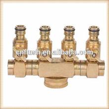 Brass garden water hose 4 way ball valve
