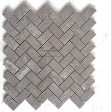 New Material Milano Grey Herringbone Marble Mosaic Pattern Tile