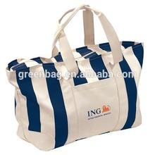 Organic Cotton Tote Bags , Stripe Canvas Cotton Bag