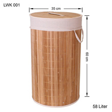 Hand-woven foldable round home storage bamboo laundry bag for dirty clothes