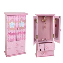pink lovely lacquered wooden jewelry storage box
