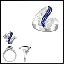 925 Sterling Silver Price Per Gram Women Ring Model Fake Diamonds Rings Price Unique Design With Blue And White Crystal