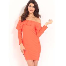 MS61822W long sleeve off shoulder ruffle neck women fashion dress