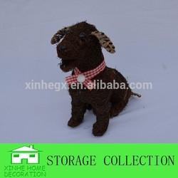decorative handwoven garden rattan dog