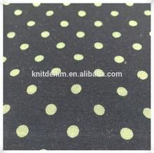 Dot print/discharge print/elastic indigo single jersey fabric