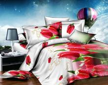 3d tulip flower style korean king size home textile reactive jacquard kids bedding set