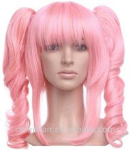 Top Selling Festival pink Color Cosplay Party Heat Resistant Synthetic Wigs from China Factory