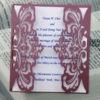 Wedding Decoration & Gift Use and Artificial Style Laser Cut invitation card