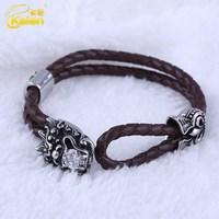 fashionable and popular rhinestone crystal leather bracelet for men
