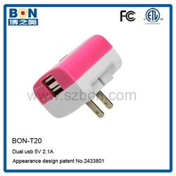 Travel charger with usb quad charger 5v 2.1a