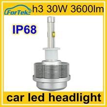 100% waterproof aluminun auto led headlight h3 bulb 30w 3600lm 4300k 6000k