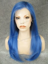 Top Quality Heat Resistan blue cosplay New year wig Synthetic lace front wig
