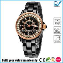 PVD Rosegold/Silver black ceramic case crystal diamond and ceramic band quartz japan movement ceramic watch