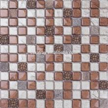 2015 new design Crystal Glass Silver Foil Mixed Resin&Granite Bathroom Mosaic Wall Tile HLB111