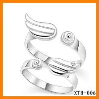 Free Shipping 2015 Fashion Cute Angel Wings Opening Couple Ring