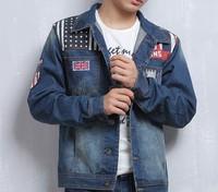 2014 men slim embroidered 100% cotton blue America denim jacket